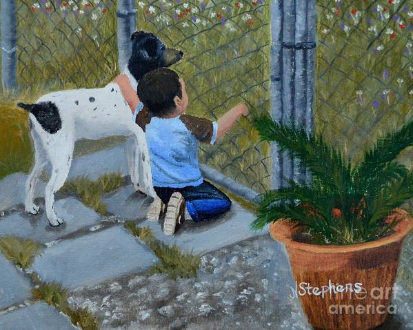 Boy Art Print featuring the painting Here's The Plan by Nina Stephens