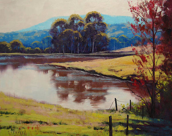 Rural Art Print featuring the painting Highland Dam by Graham Gercken