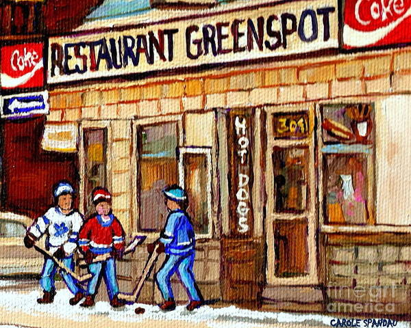 Restaurant Greenspot Art Print featuring the painting Hockey And Hotdogs At The Greenspot Diner Montreal Hockey Art Paintings Winter City Scenes by Carole Spandau