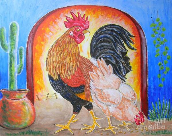Roosters Art Print featuring the painting Hola Senorita by George I Perez