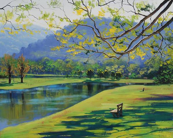 River Art Print featuring the painting Inder The Shade by Graham Gercken
