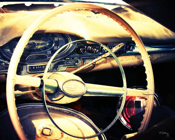 Steering Wheel Photo Art Print featuring the photograph Junkyard Steering Wheel by Andrea Kelley