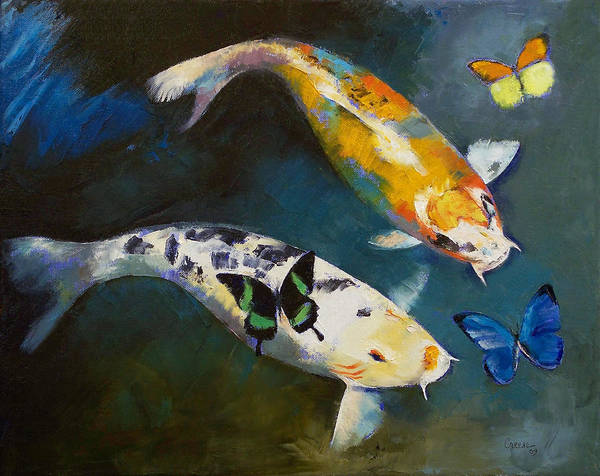 Asian Art Print featuring the painting Koi Fish And Butterflies by Michael Creese