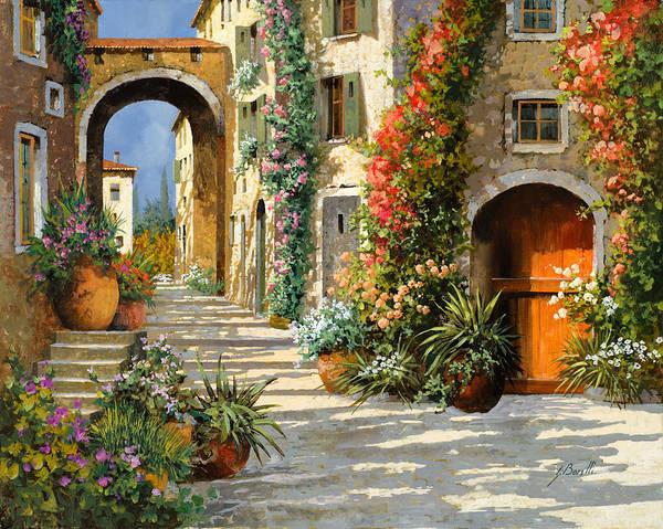 Landscape Art Print featuring the painting La Porta Rossa Sulla Salita by Guido Borelli