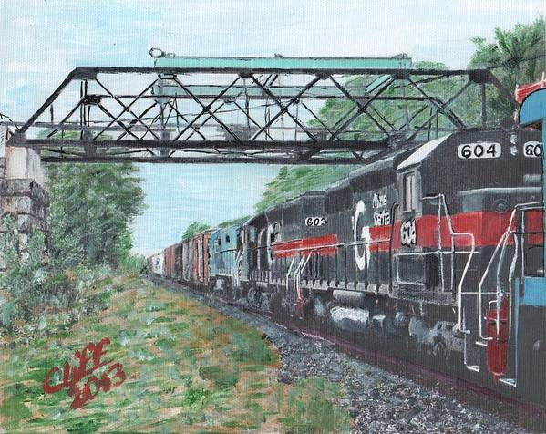 Trains Art Print featuring the painting Last Train Under The Bridge by Cliff Wilson