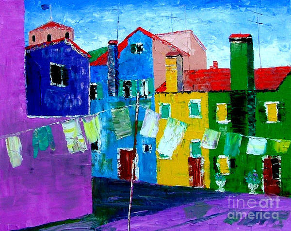 Burano Art Print featuring the painting Laundry Day by Inna Montano