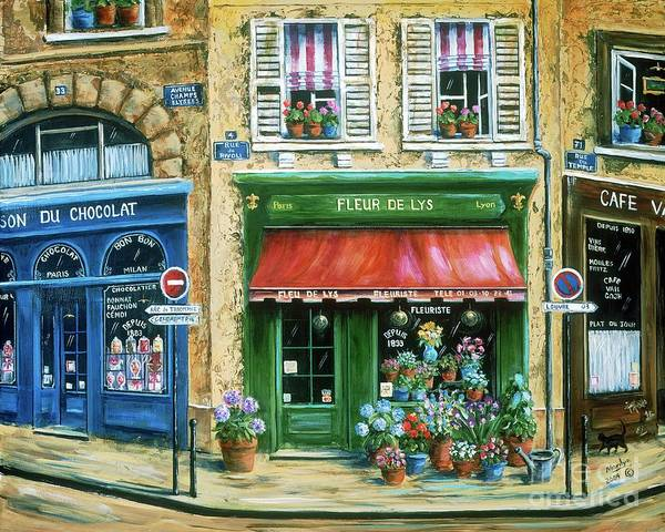 Europe Art Print featuring the painting Le Fleuriste by Marilyn Dunlap
