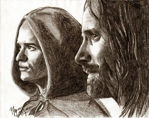 The Lord Of The Rings Art Print featuring the drawing Legolas And Aragorn by Maren Jeskanen