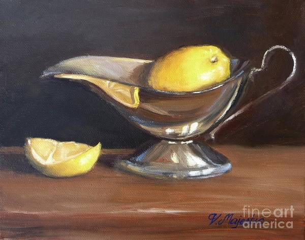 Oil Art Print featuring the painting Lemon In Saucer by Viktoria K Majestic