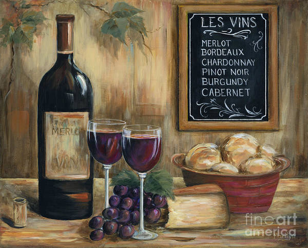 Wine Art Print featuring the painting Les Vins by Marilyn Dunlap