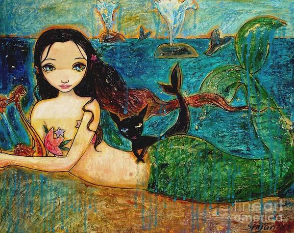 Mermaid Art Art Print featuring the painting Little Mermaid by Shijun Munns