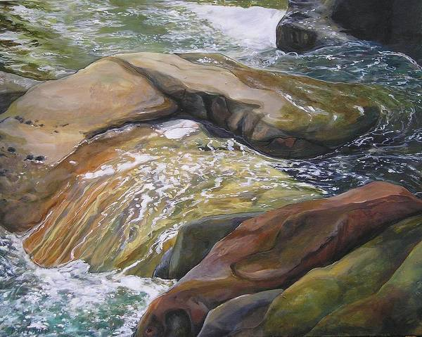 Water Art Print featuring the painting Living Water by Denise Ivey Telep