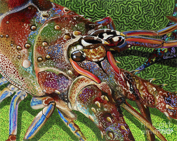 Lobster Art Print featuring the painting lobster season Re0027 by Carey Chen