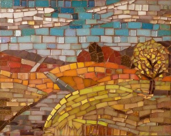 Loess Hills Print featuring the glass art Loess Hills by Julie Mazzoni