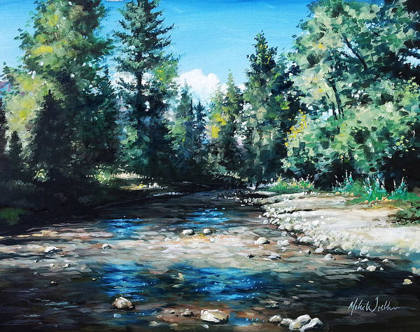 Utah Art Print featuring the painting Lowry Creek Run by Mike Worthen