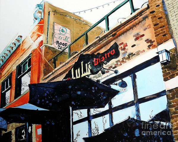 Fort Collins Art Print featuring the painting Lulu Asian Bistro by Tom Riggs