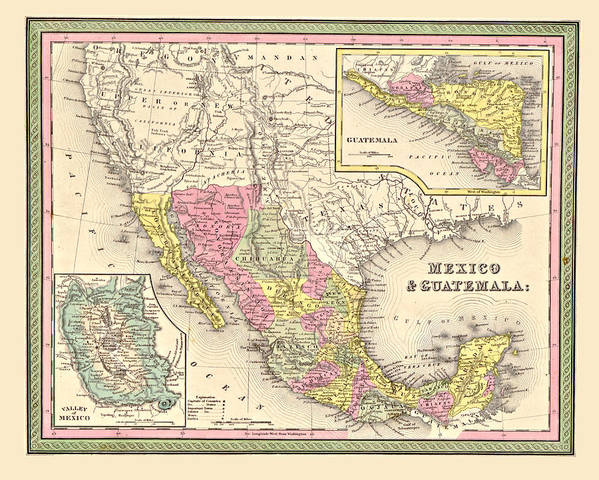 Vintage Art Print featuring the digital art Map Of Mexico by Gary Grayson