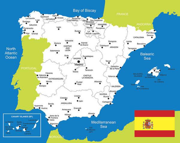 Map Of Spain Oviedo.Map Of Spain Art Print