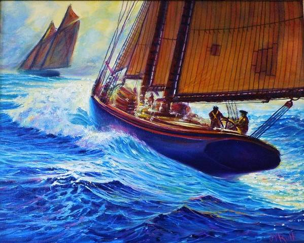 Seascape Sailing Fishing Waves Original Oil Painting Surf Rough Stormy Ocean Boats Sailing Ships Sailboat Schonners Frigates Vintage Older Old Wood Wopoden Grand Banks Northeaster Splashing Spray Ripples Wind Sky Stormy Art Print featuring the painting Men Of Gloucester by Joseph  Ruff