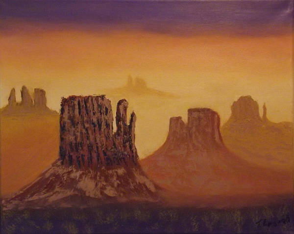 Mesa Art Print featuring the painting Mesas by Tim Longwell