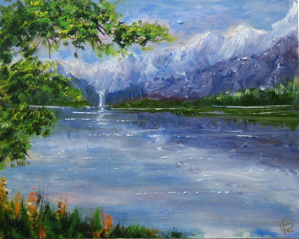 Landscape Art Print featuring the painting Mirror Lake by Thomas Restifo