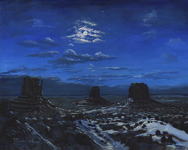 Tim Gordon Art Print featuring the painting Monument Valley By Moon Light by Timithy L Gordon