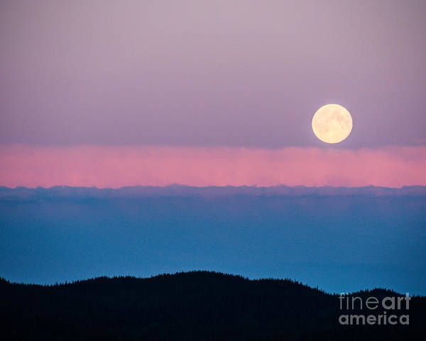 Moon Rise Print featuring the photograph Moonrise by Christina Klausen