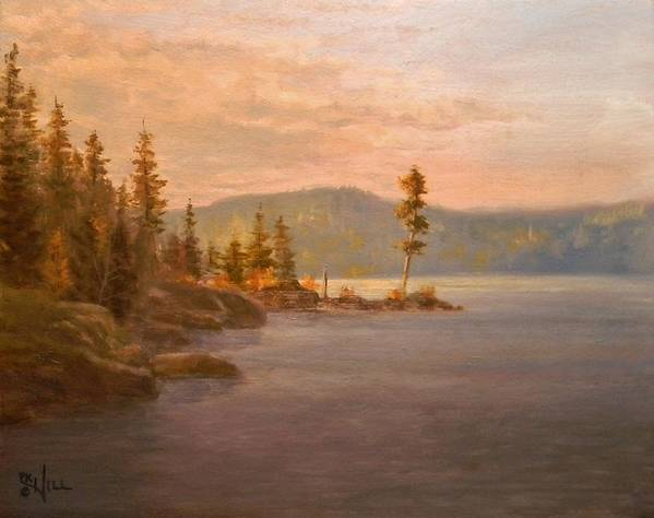 Coeur D'alene Print featuring the painting Morning Light On Coeur D'alene by Paul K Hill