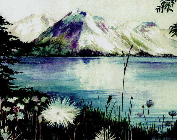 Landscape Art Print featuring the painting Mountain Serenity by Brenda Owen
