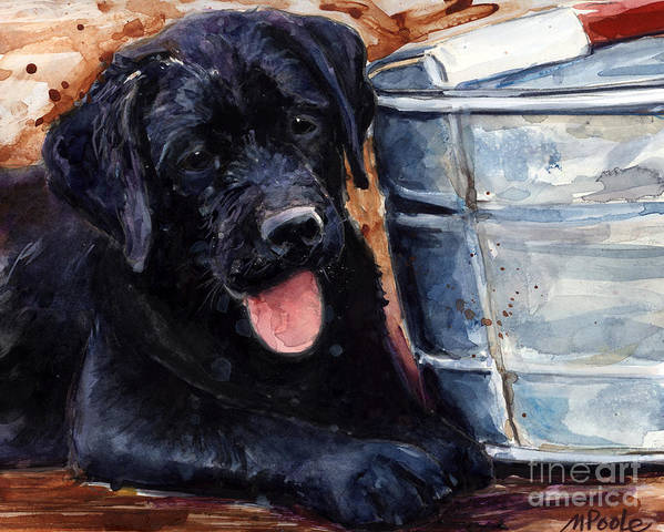Labrador Retriever Art Print featuring the painting Mud Pies by Molly Poole