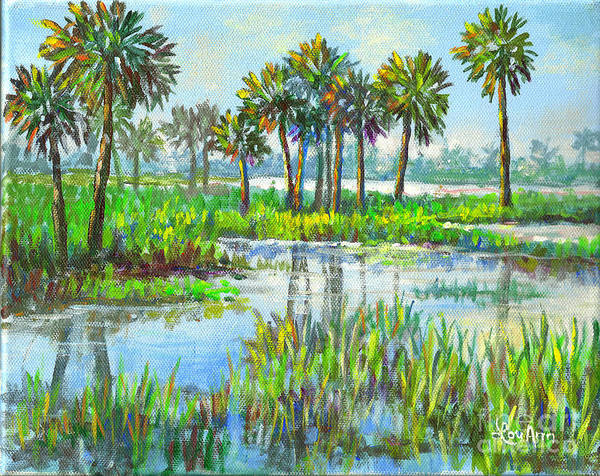 Florida Art Print featuring the painting Myakka Lake With Palms by Lou Ann Bagnall
