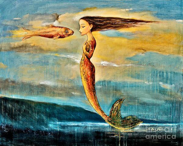 Mermaid Art Art Print featuring the painting Mystic Mermaid IIi by Shijun Munns