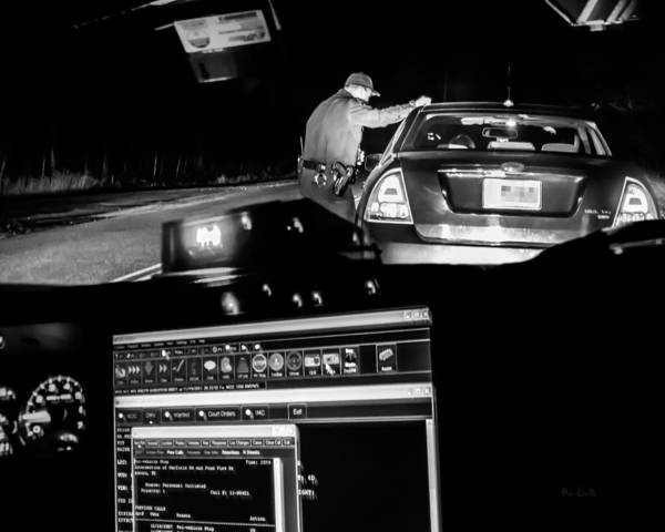 Police Art Print featuring the photograph Night Traffic Stop by Bob Orsillo