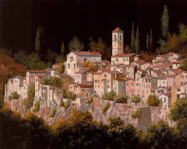 Tuscany.landscape Art Print featuring the painting Notte Senza Luna by Guido Borelli