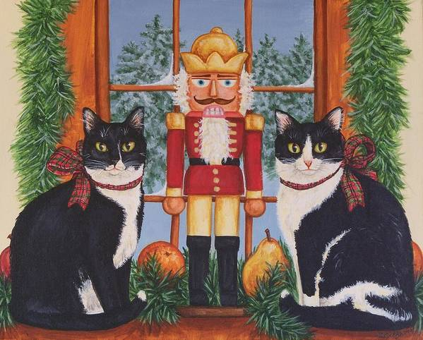 Cats Art Print featuring the painting Nutcracker Sweeties by Beth Clark-McDonal