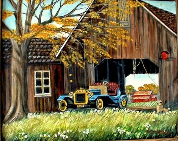 Old Barn Car Art Print featuring the painting Old Barn And Old Car by Kenneth LePoidevin