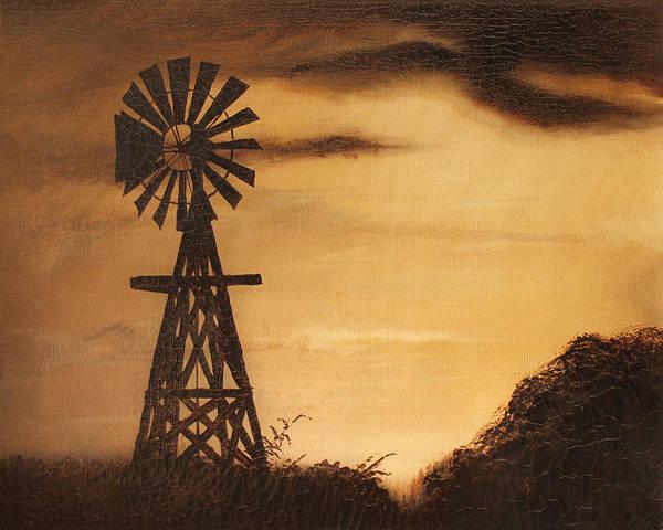 old windmill silhouette art print by big texas sky prints