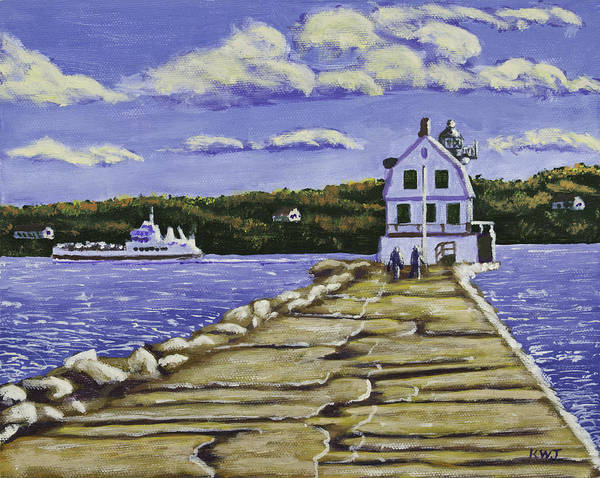 Rockland Art Print featuring the painting Rockland Breakwater Lighthouse In Maine by Keith Webber Jr