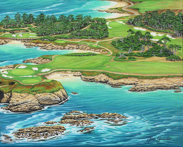 Ocean Art Print featuring the painting Pebble Beach 15th Hole-south by Jane Girardot