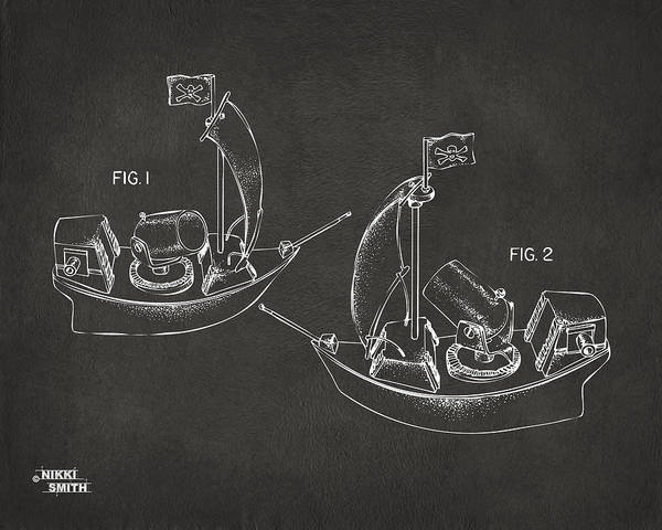 Pirate Art Print featuring the digital art Pirate Ship Patent Artwork - Gray by Nikki Marie Smith