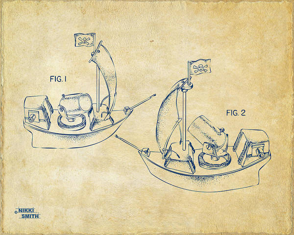 Pirate Art Print featuring the digital art Pirate Ship Patent Artwork - Vintage by Nikki Marie Smith