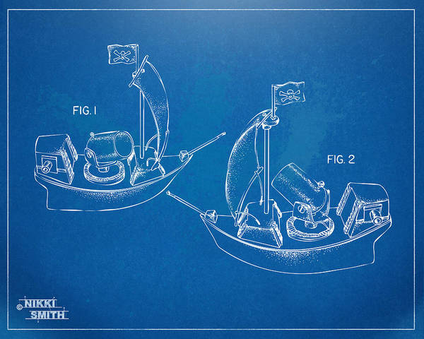 Pirate Art Print featuring the digital art Pirate Ship Patent - Blueprint by Nikki Marie Smith