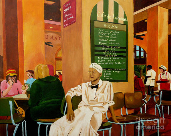 Cafe Art Print featuring the painting Please Be Seated by Anthony Dunphy