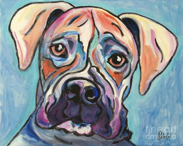 Boxer Print featuring the painting Pop Art Boxer by Robin Wiesneth