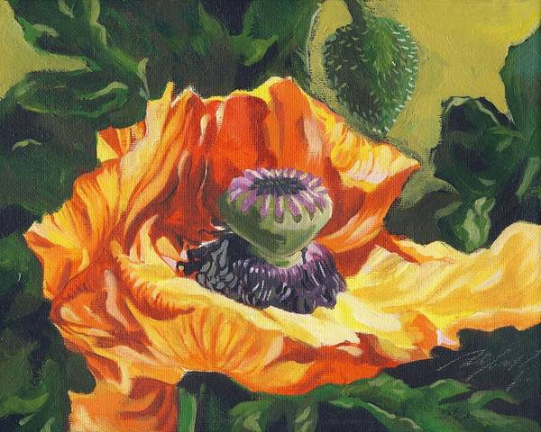 Garden Art Print featuring the painting Poppy With Yellow by Alfred Ng