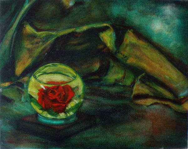Still Life Art Print featuring the painting Preserved Rose . . Draped Canvas by Sean Connolly