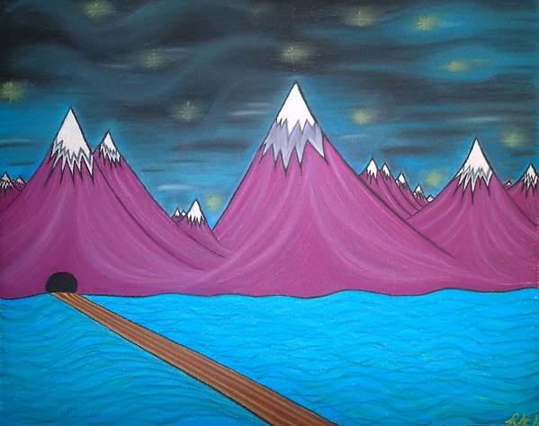 Abstract Painting Art Print featuring the pastel Purple Mountains by Robert Nickologianis