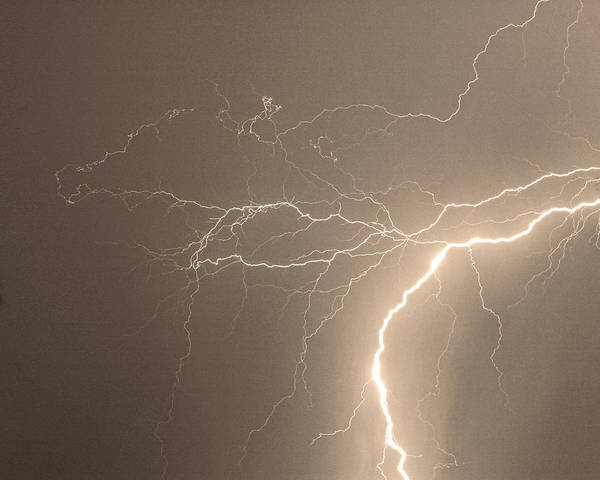 Lightning Print featuring the photograph Reaching Out Touching Me Touching You Sepia by James BO Insogna