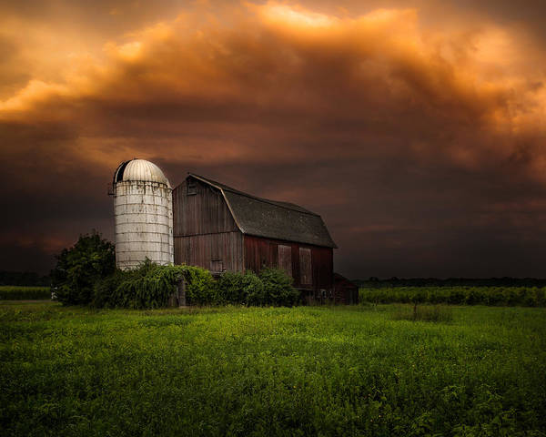 Red Barn Art Print featuring the photograph Red Barn Stormy Sky - Rustic Dreams by Gary Heller