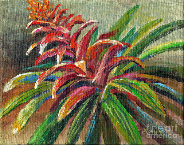 Tropical Flowers Art Print featuring the painting Red Bromiliad by Lou Ann Bagnall
